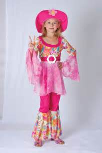 Girls hippy a costume for childrens 60s 70s hippie fancy dress