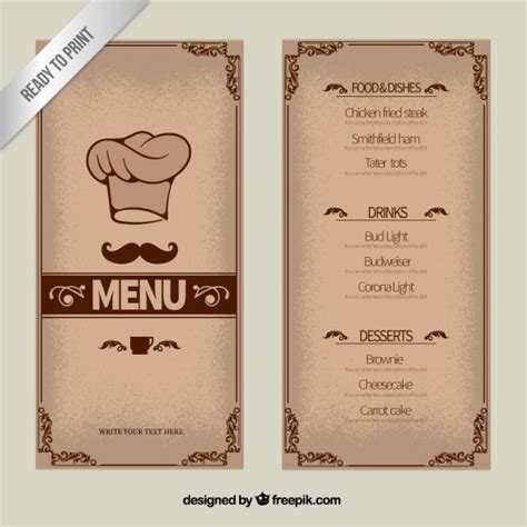 small menu template ornamental menu template vector premium