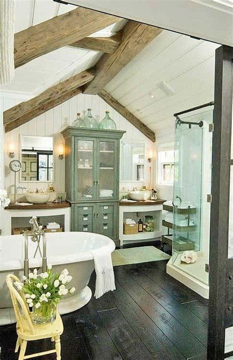 Cottage With Tub by Cottage Farmhouse Bathroom Wood Beam Ceiling