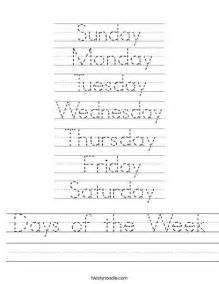 days of the week worksheet from twistynoodle com this site