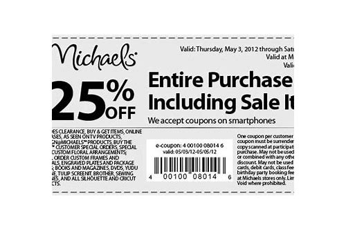 michaels coupon code 25 off