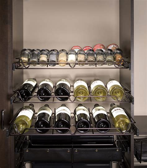 Garage Design Solutions oil rubbed bronze sliding spice and wine racks american