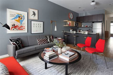 kitchen combined with living room living room and bedroom design in retro style of a two room apartment