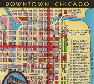 Map Of Chicago Hotels by Vintage Chicago Map Postcard Downtown Chicago By