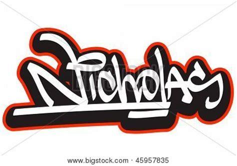 lettere per nick nicholas graffiti font style name vector photo bigstock