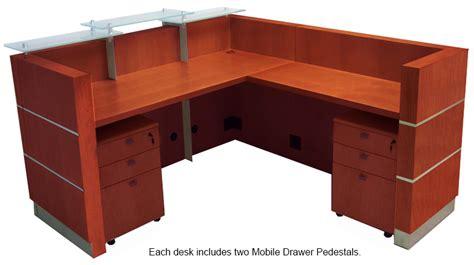 glass top office desk modern glasstop cherry reception l desk