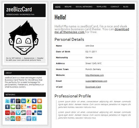 build resumes easily with free zeebizzcard theme wpmu dev