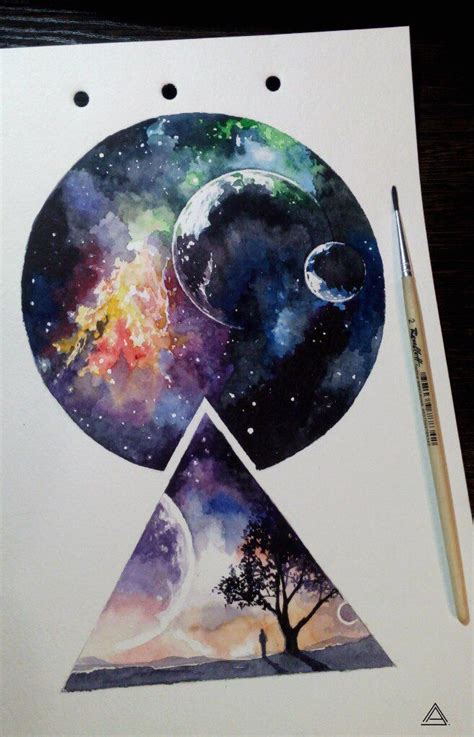 watercolor tattoo sketch universe cosmos geometry watercolor sketch by