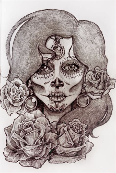 sugar skull woman tattoo sugar skull pencil and in color sugar