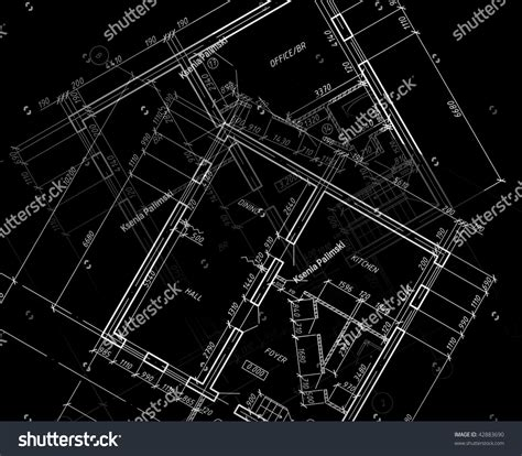 autocad layout view black and white blueprint cad architectural plan drawing white stock