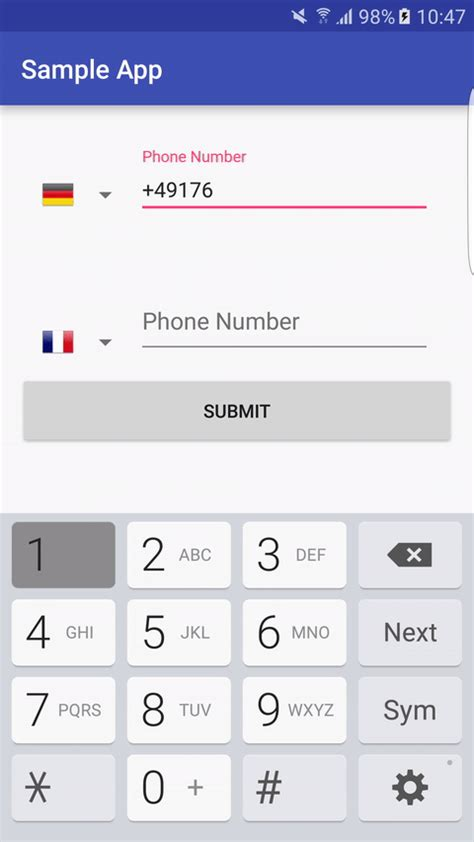 android phone number the android arsenal text views android phone field