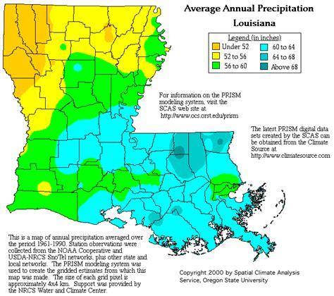 louisiana map climate change louisiana precipitation map