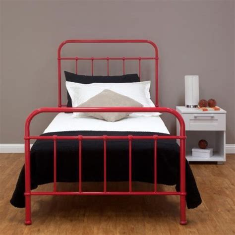 Industrial Retro Metal Hospital Single Bed Red Frame Kids Vintage Style Metal Bed Frame