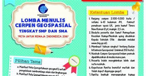 menulis cerpen singkat lomba menulis cerpen geospasial peta untuk remaja