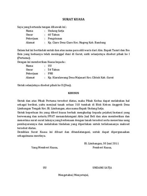 contoh format surat kuasa pengurusan tanah 9 contoh surat kuasa lengkap khusus uang bpkb ijazah
