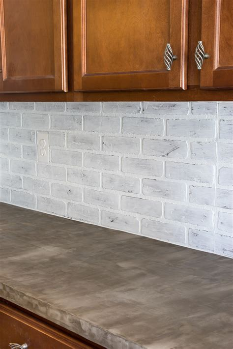 brick look backsplash remodelaholic diy whitewashed faux brick backsplash