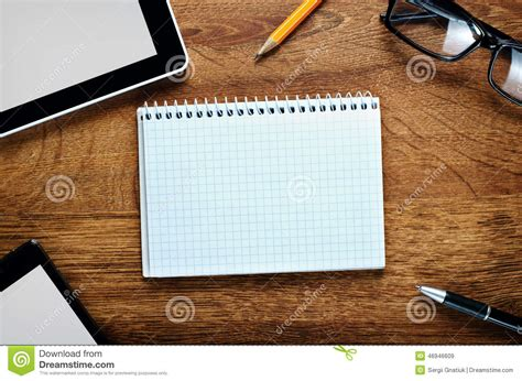 stuff for office desk office or school stuff on desk with copy space stock photo