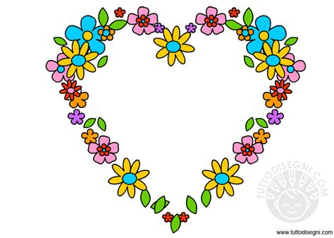 disegni con i fiori ghirlanda a forma di cuore con i fiori tuttodisegni