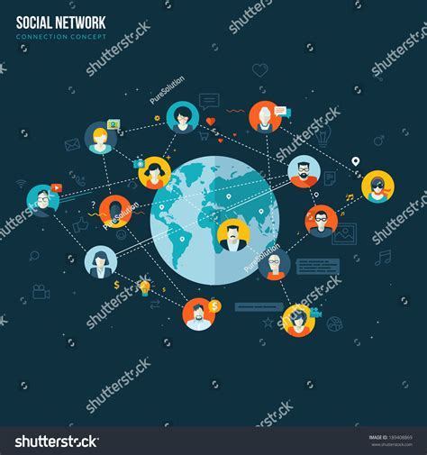 home design social network flat design concept for social network concepts for web