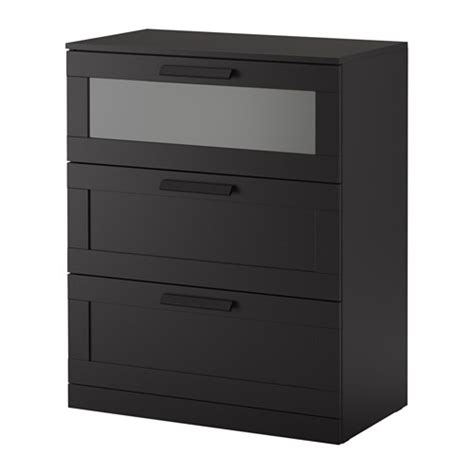 brimnes 3 drawer chest black frosted glass