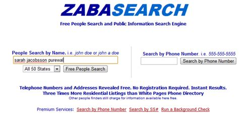 Free Peoples Search Zabasearch White Pages