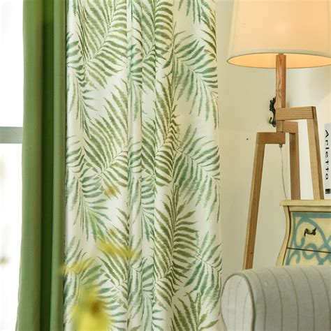 Tropical Plam/Fern Leaf Green Blackout Curtains for Living