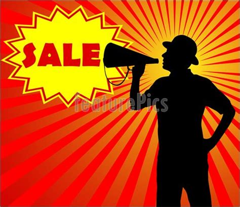 announcement sles shopping with megaphone sale concept stock