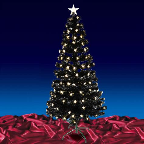 180cm 6ft christmas black fibre optic tree with warm white