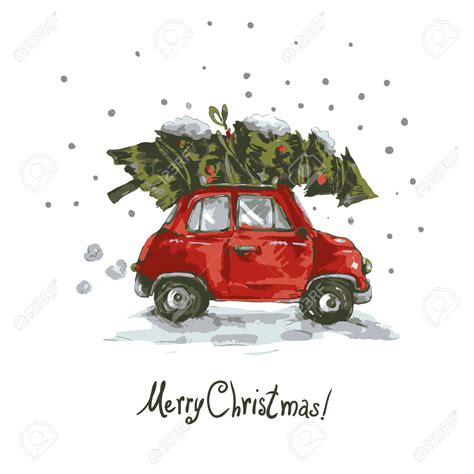 retro car christmas tree clipart new year cards