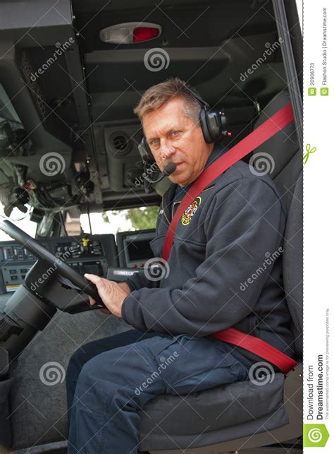 fire truck driver  headphone  stock image image