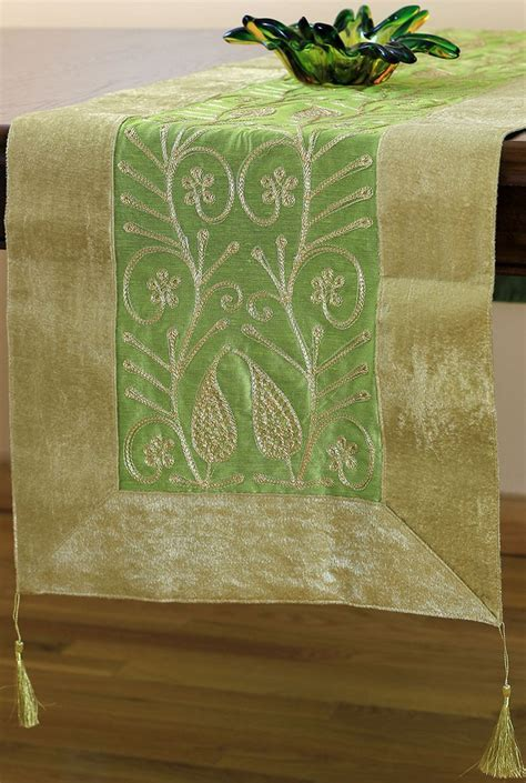 Velvet Floral Embroidered Table Runner   Banarsi Designs