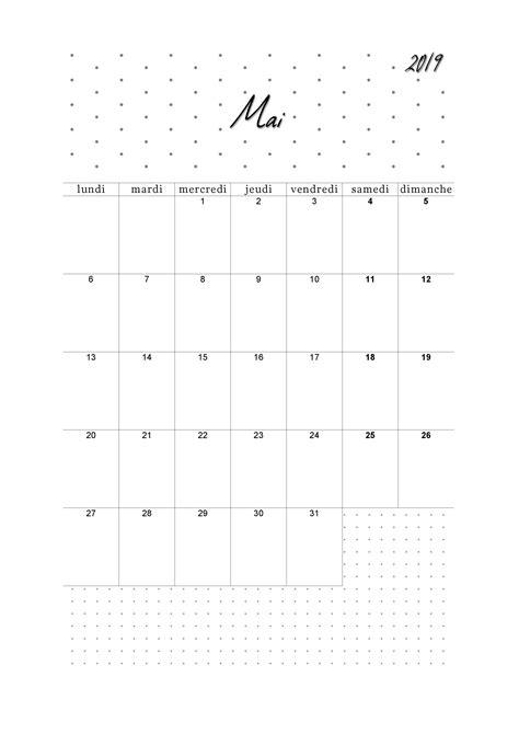 Mai Calendrier 2019 à imprimer - Calendag