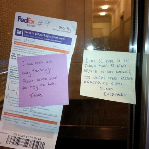 Neighbor Notes Someecards Fedex Left At Front Door