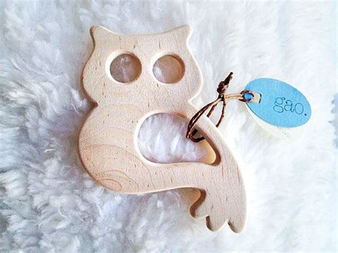 Handmade Wooden Baby Toys - organic teething ring owl teething handmade