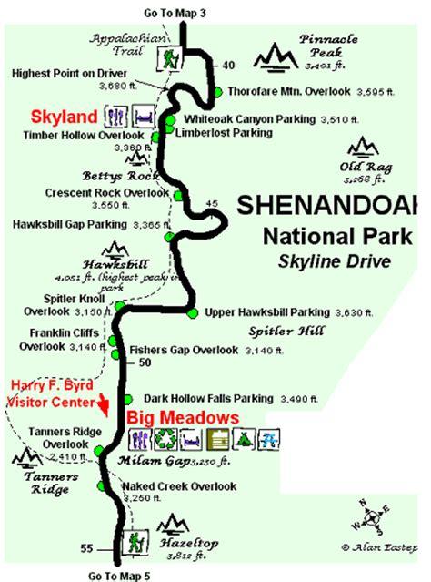skyline drive map shenandoah national park skyline drive map 4 alan s virginia picnic guide