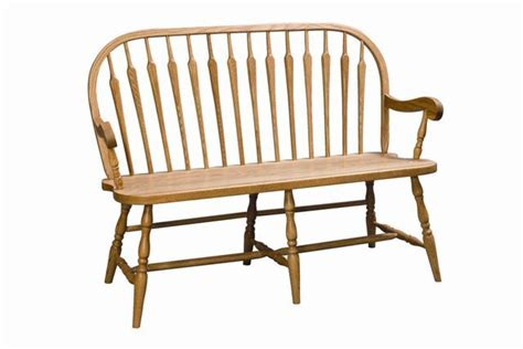 oak bench with back amish arrow back windsor bench oak or cherry