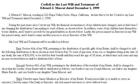 Exle Document For Codicil Will Codicil Template