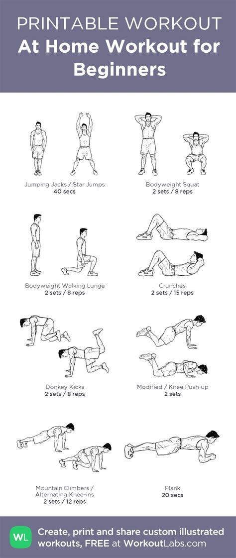 printable exercise program for beginners at home full body workout for beginners men from