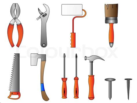 house builder tool building tools and instruments stock vector colourbox