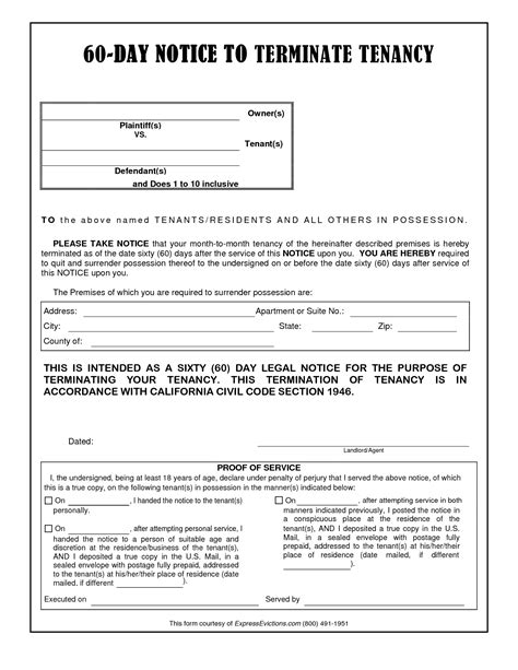 60 day lease termination notice template 10 best images of 60 day notice sle 60 day eviction