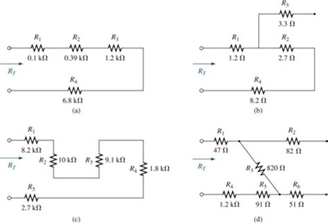 what is the total resistance value of resistors in a series circuit find the total resistance rt for each configuration chegg
