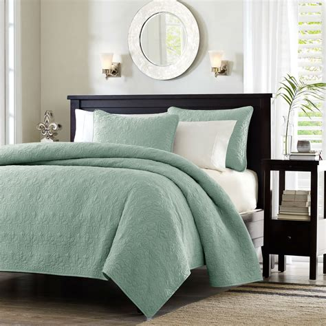 real simple coverlet full queen seafoam blue green quilted coverlet quilt set