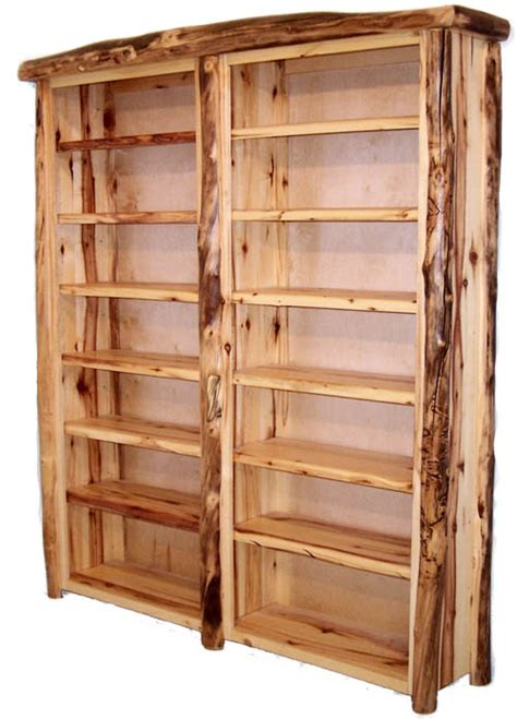 custom wood bookshelves log cabin bookcase rustic furniture lodge shelves custom