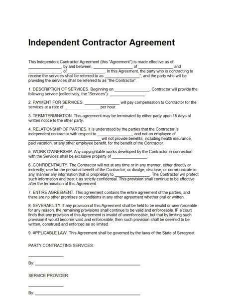 free independent contractor agreement form download it