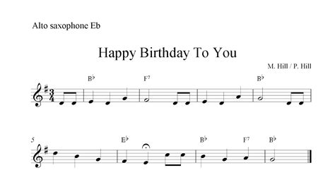 printable happy birthday sheet music alto sax happy birthday to you free easy alto saxophone sheet