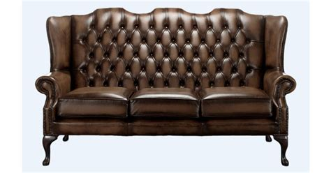 brown chesterfield 3 seater high back chair designersofas4u