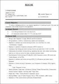Resume Format Mba 1 Year Experience Resume Sample For I T I Instrument Mechanics From N C V