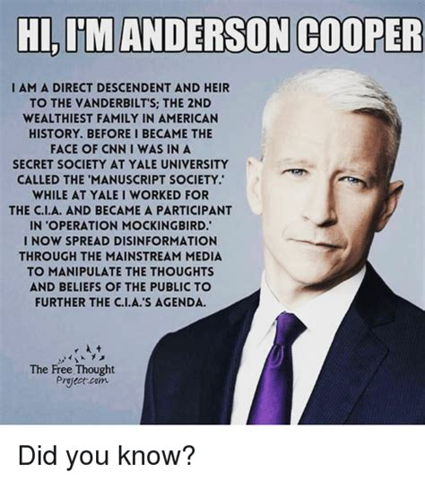 Anderson Cooper Meme - hi im anderson cooper i am a direct descendent and heir to