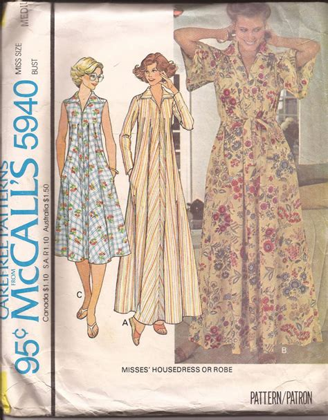 pattern for zip up dressing gown mccalls 5940 1978 vintage zip front house dress robe