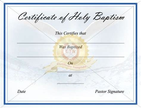 baptism certification letter 24 best baptism certificate templates images on